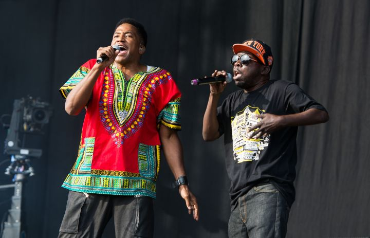 Q-Tip and Phife Dawg of A Tribe Called Quest perform on the main stage on day 3 of the Yahoo! Wireless Festival at Queen Elizabeth Olympic Park on July 14, 2013 in London.