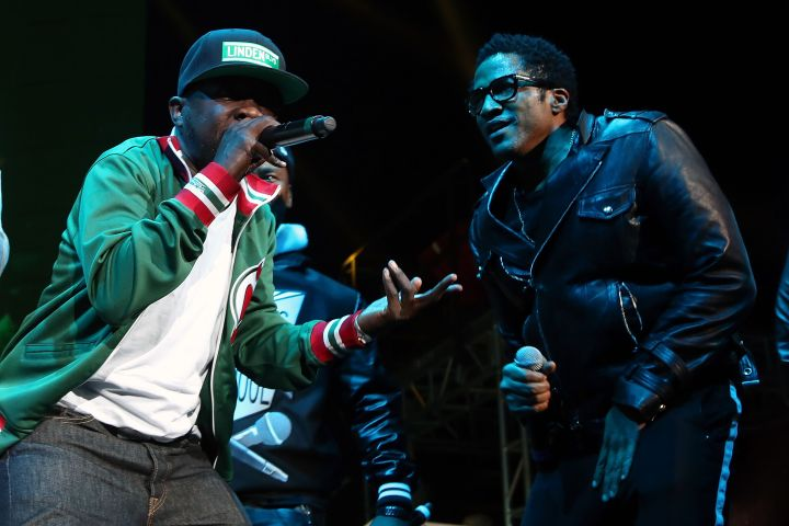 Phife Dawg and Q-Tip of A Tribe Called Quest perform during Hot 97's 'Busta Rhymes And Friends: Hot For The Holidays' concert at Prudential Center on December 5, 2015 in Newark, New Jersey.