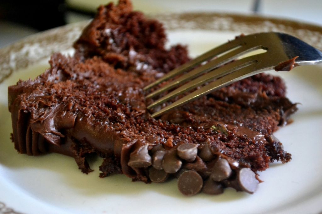 Close-Up Of Chocolate Cake Slice Served In Plate
