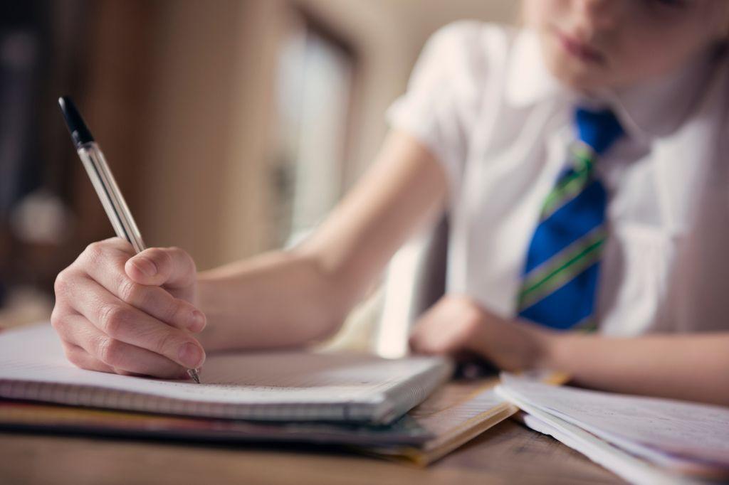 Child (8-9) doing school homework