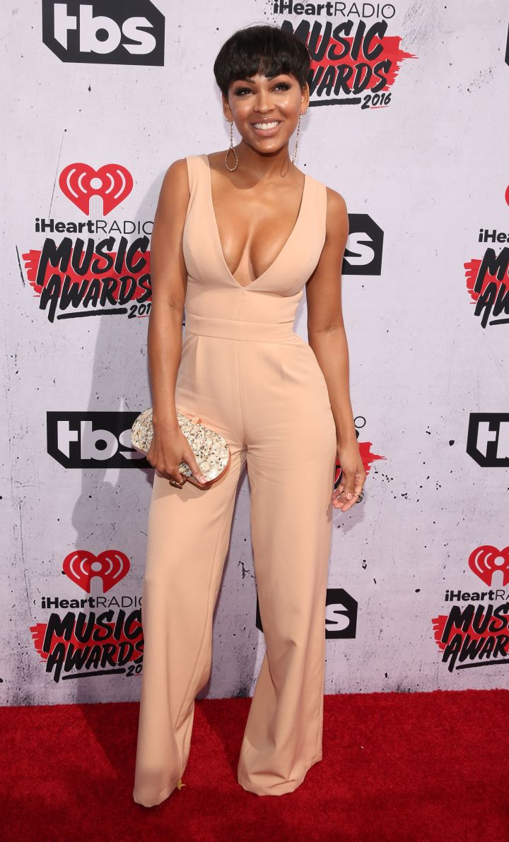 Meagan Good posed for sweet pictures with her husband on the carpet.