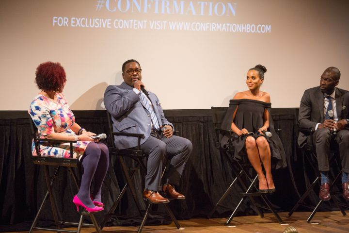 Wendell Pierce, Kerry Washington, & Rick Famuyiwa on a panel with Nikole Hannah-Jones.