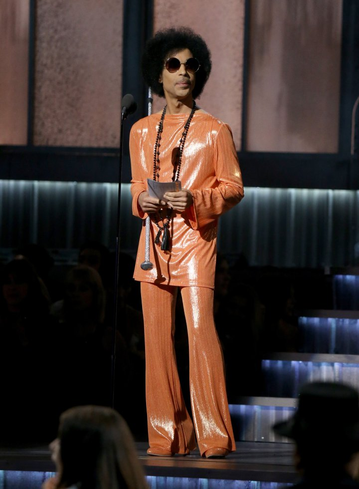 Prince speaks onstage during The 57th Annual GRAMMY Awards at STAPLES Center on February 8, 2015 in Los Angeles, California.