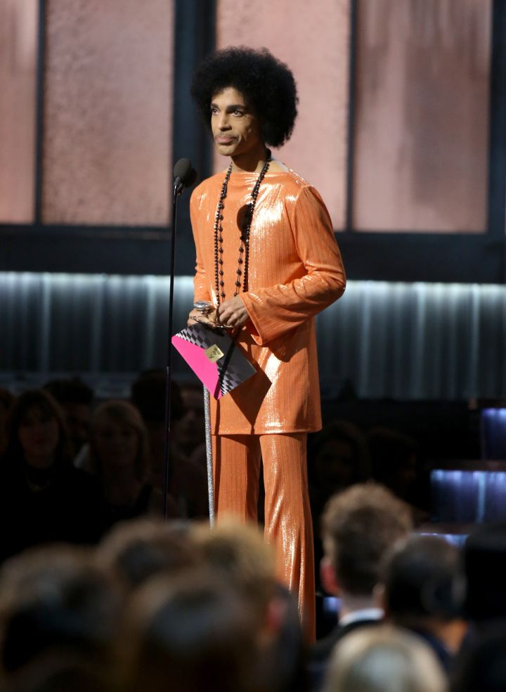 Prince speaks onstage during The 57th Annual GRAMMY Awards at STAPLES Center.