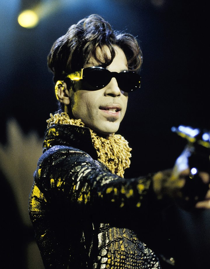 Prince performing at Shoreline Amphitheater in Mountain View, Calif. on October 10th, 1997.