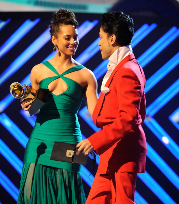 Prince joins the stage with Alicia Keys at the 50th Annual GRAMMY Awards