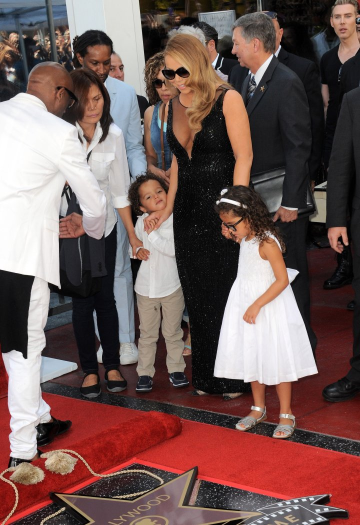 Mariah with her munchkins at her Hollywood Walk of Fame ceremony