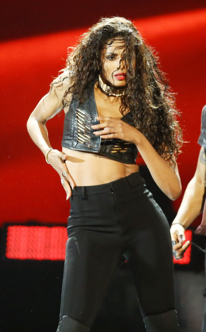 Ciara was definitely inspired by the crop top look.