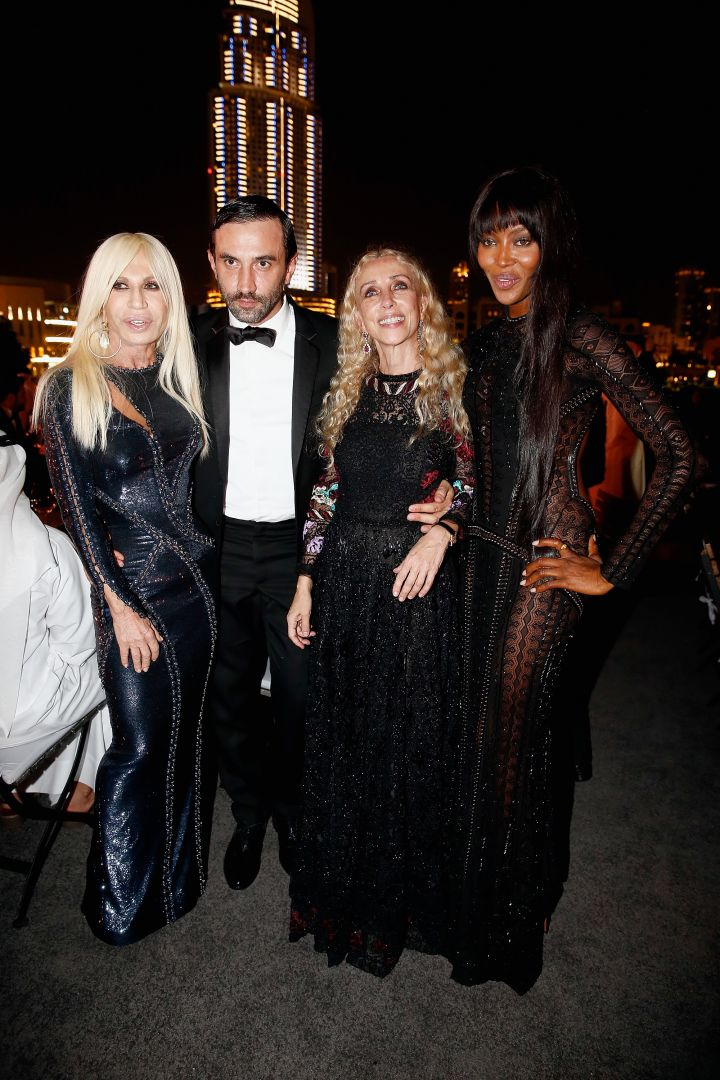 Donatella gave major glam while posing with friends Riccardo Tisci and Naomi Campbell.