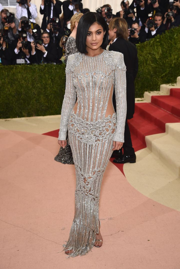 Kylie Jenner wears Balmain to her first Met Gala.