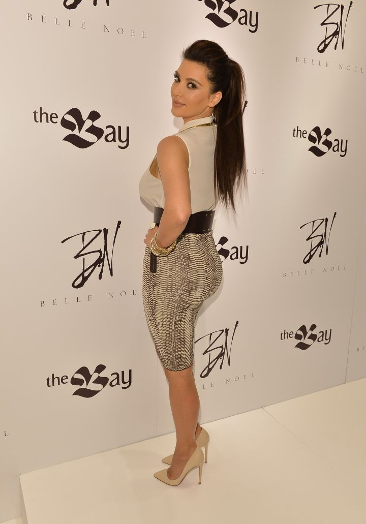 Kim K. shows off her cute and tiny booty during 2012 Canadian debut of her jewelry line Belle Noel.
