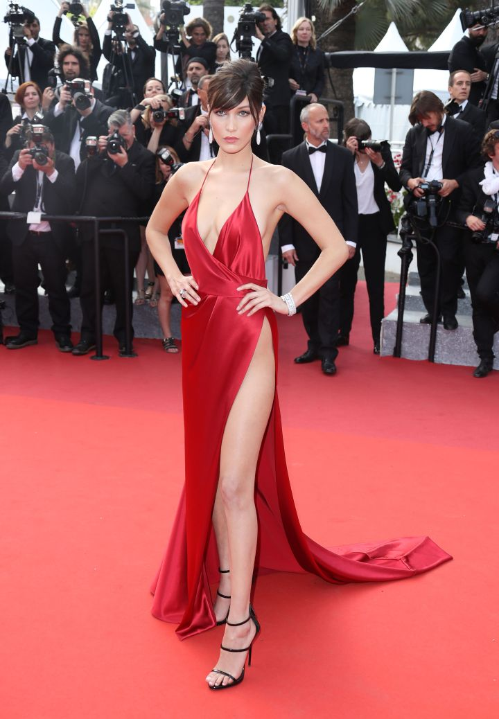 Bella Hadid turned all the heads in a thigh-high slit gown by Alexandre Vauthier.