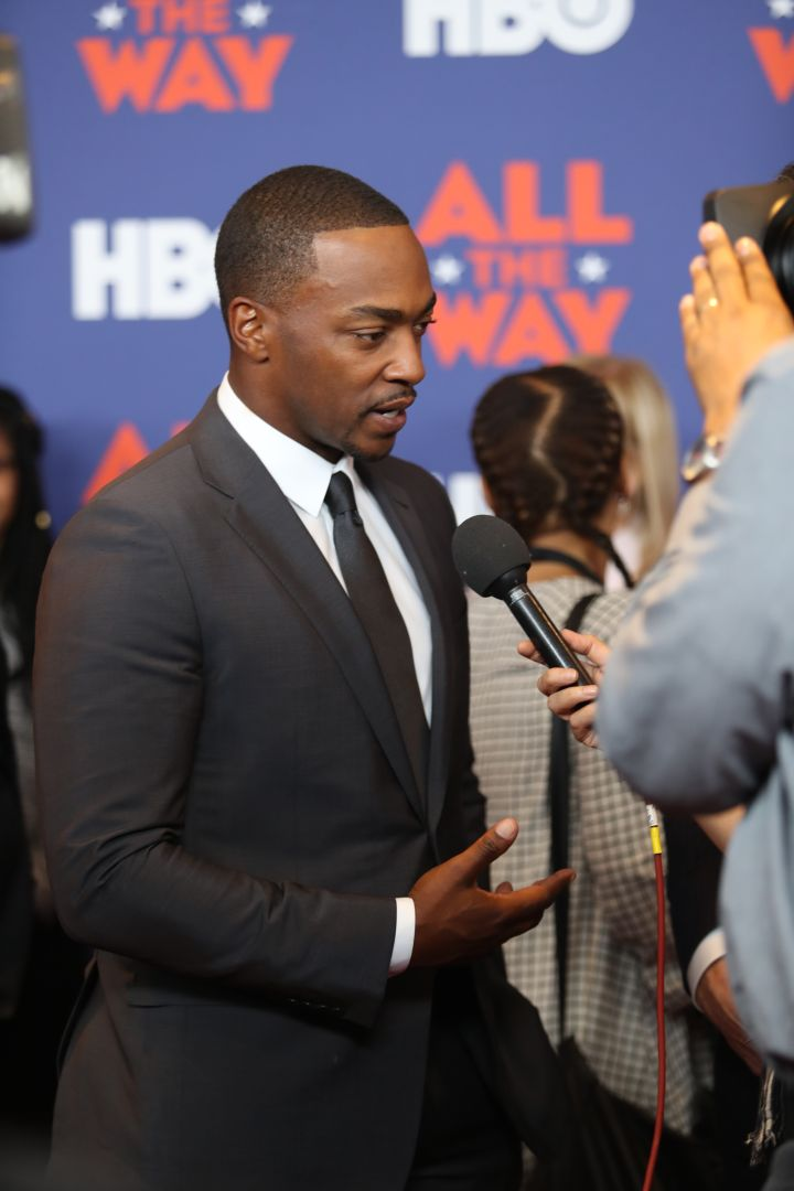 "Anthony Mackie talking to the press about HBO's ""All The Way."""