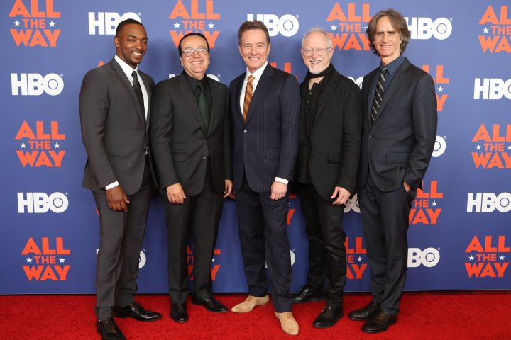 "Anthony Mackie & Bryan Cranston with executives from HBO & the film ""All The Way."""
