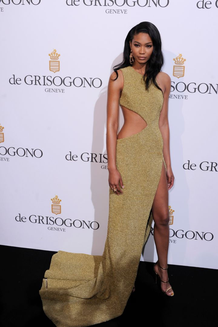 Chanel Iman was a golden goddess in August Getty Atelier on the black carpet.