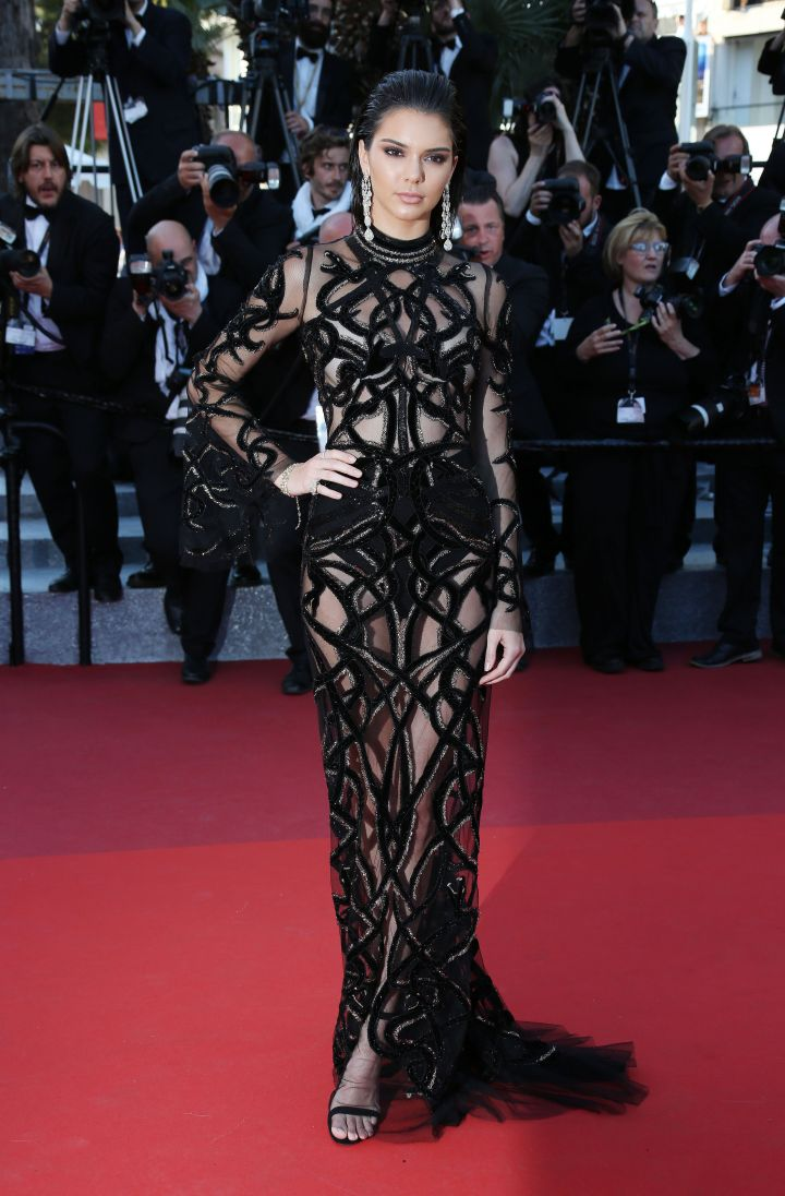 Slaaaayyyy, Kendall! She wore a sheer gown by Cavalli Couture.