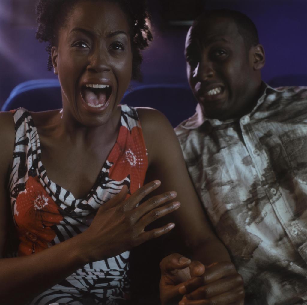 Couple Watching Horror Movie