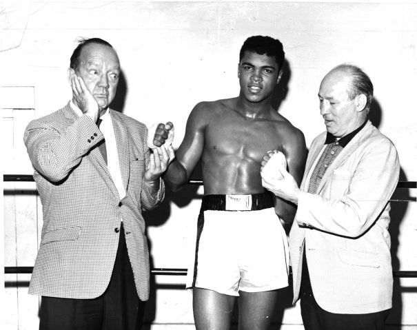 Cassius Clay poses with Maxie Rosenbloom and Solly Krieger