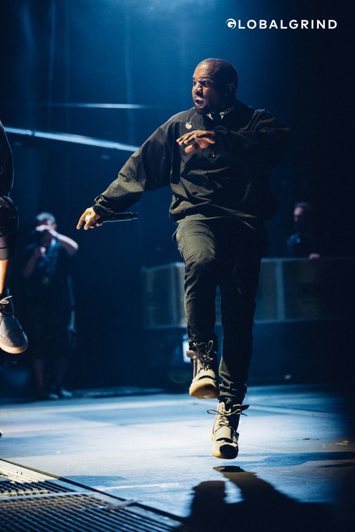 Kanye West hops while performing at the 2016 Hot 97 Summer Jam at Met Life Stadium.