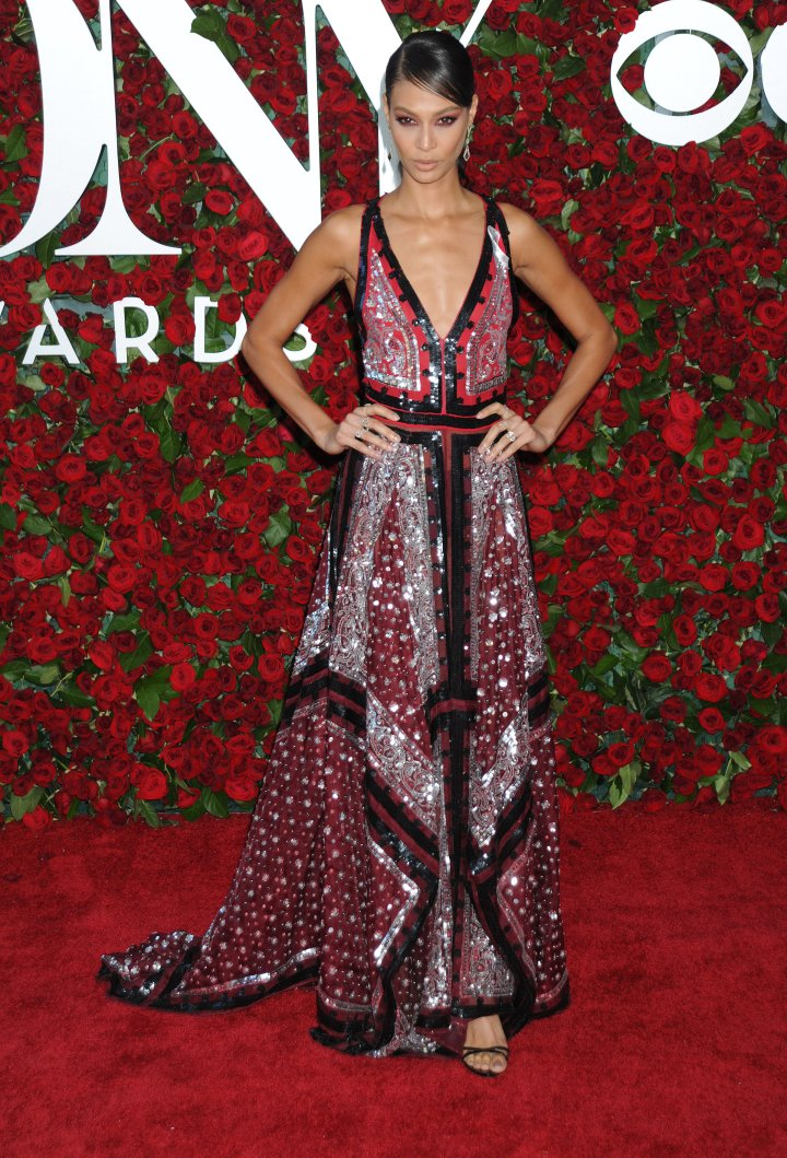 Model Joan Smalls wore an eclectic gown.