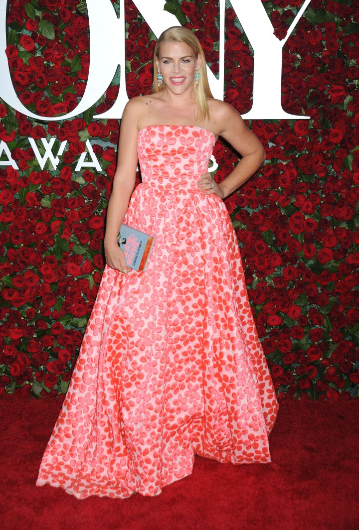 Actress Busy Philipps looked pretty in pink.
