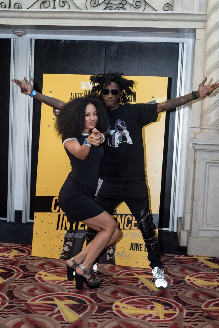 Puma and Quani rocked all black to the #XillaMovieParty for Central Intelligence in New York City.