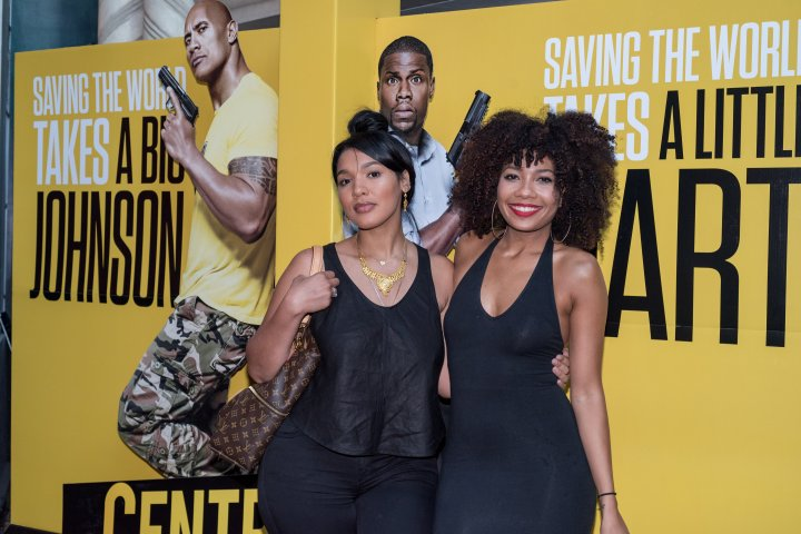 Model Yaris Sanchez and Beauty blogger Jessica from Hey Gor-Jess smile for the cameras at the #XillaMovieParty for Central Intelligence in New York City