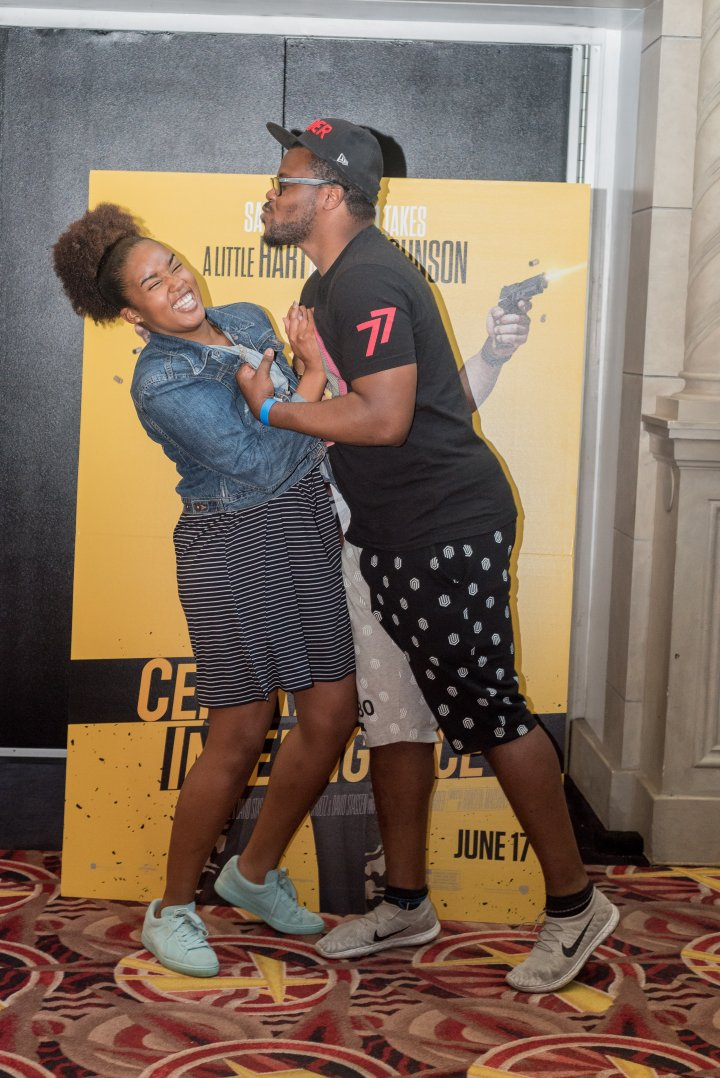 DeWayne Evans from Whiskey Frenz and Belise Thomas mingle at the #XillaMovieParty for Central Intelligence in New York City