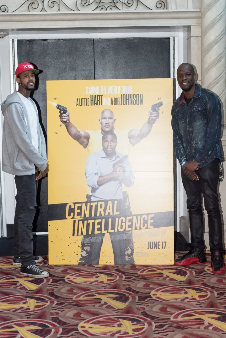 Rapper Tray Pizzy and DJ Zeke stop by the #XillaMovieParty for Central Intelligence in New York City