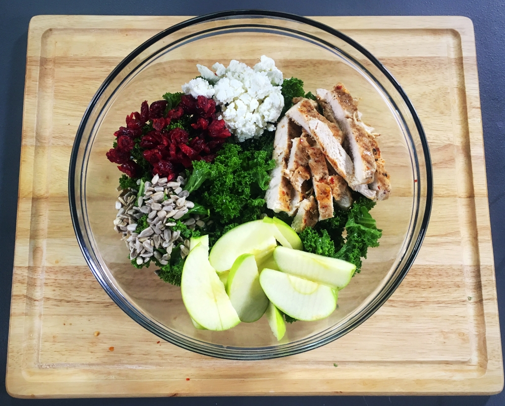 Grilled Chicken, Apple, Feta Kale Salad With Balsamic Vinaigrette