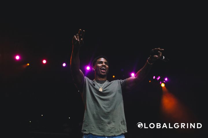 Trey Songz greets the crowd at Hot 107.9's Birthday Bash concert in Atlanta.