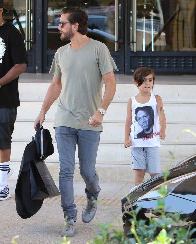 Scott Disick and son Mason go shopping at Barneys New York