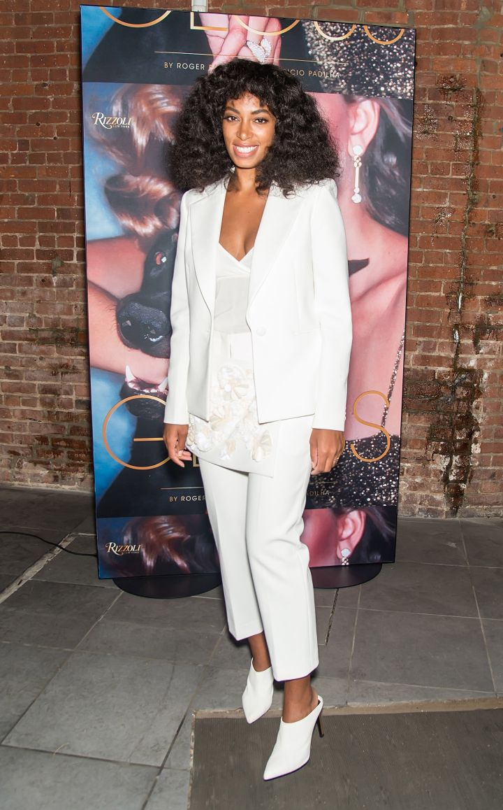 Solange kills all white at the 'Gloss: The Work Of Chris Von Wangenheim' Book Launch Party.