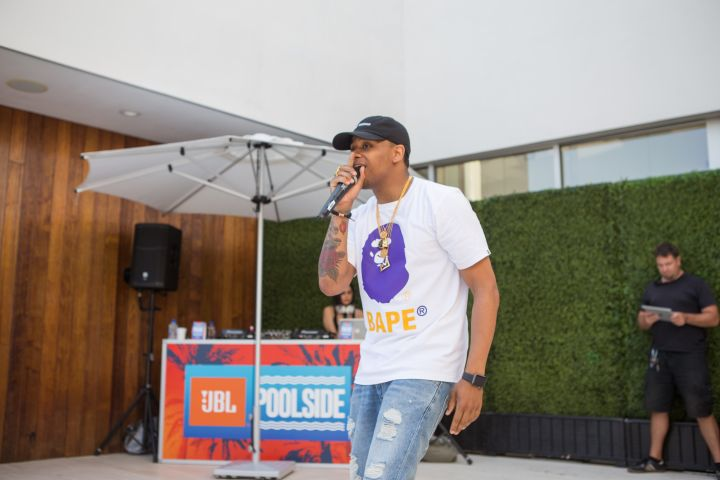 """Mack Wilds Performing At JBL's """"Charge 3"""" Poolside Launch."""