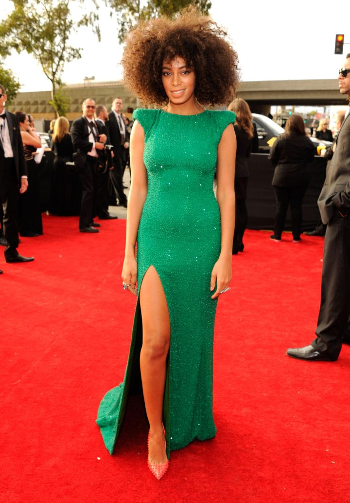 Money green at the 55th Annual GRAMMY Awards.