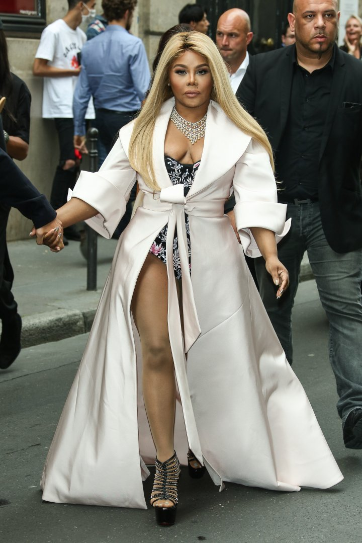 Lil Kim was spotted outside the Ralph & Russo show.