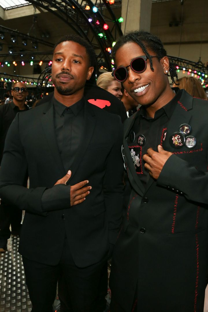 Michael B. Jordan and A$AP Rocky attend the Dior Homme show.