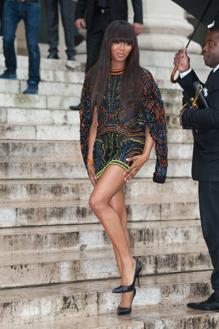 Naomi Campbell spotted arriving at the Versace show.