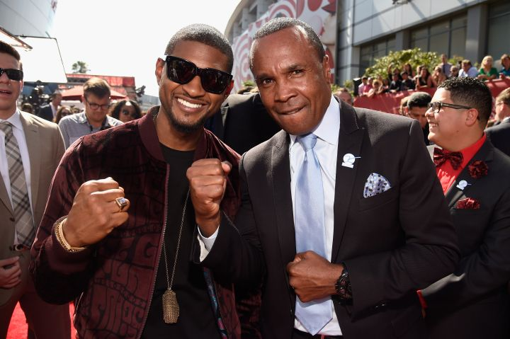 Usher caught up with Sugar Ray Leonard, whom he portrays in an upcoming biopic.