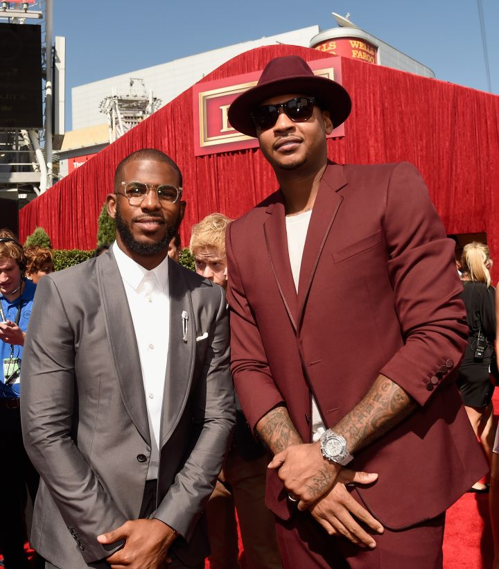 Carmelo Anthony and Chris Paul looked dapper.