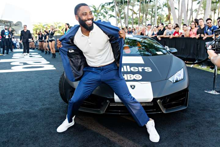 Actor John David Washington Hits HBO's 'Ballers' Season Two Red Carpet