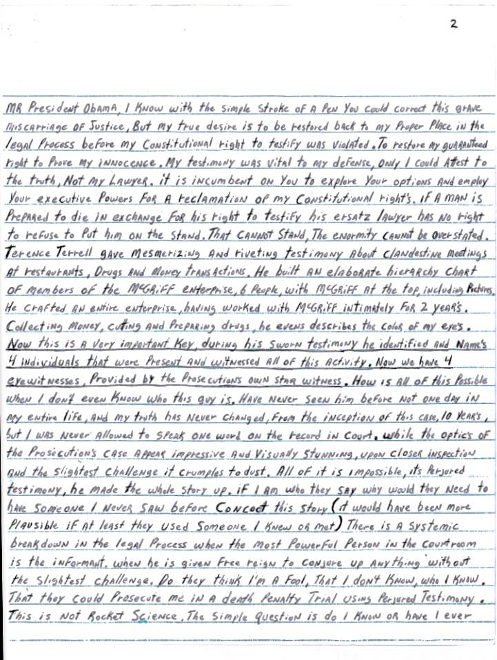 "Kenneth ""Supreme"" McGriff Pardon Letter"