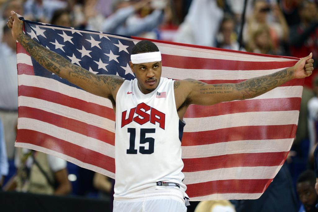 US forward Carmelo Anthony celebrates af