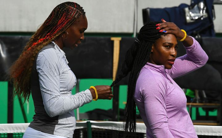 Serena and Venus get braided up in preparation for Rio Olympics.