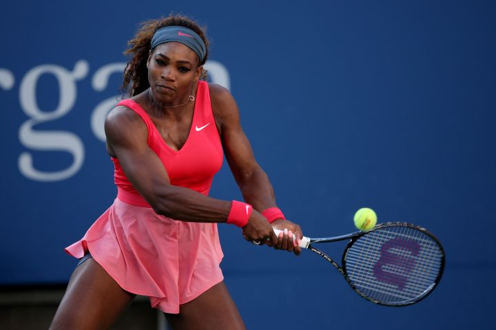 Serena goes pink on pink at the 2013 US Open.
