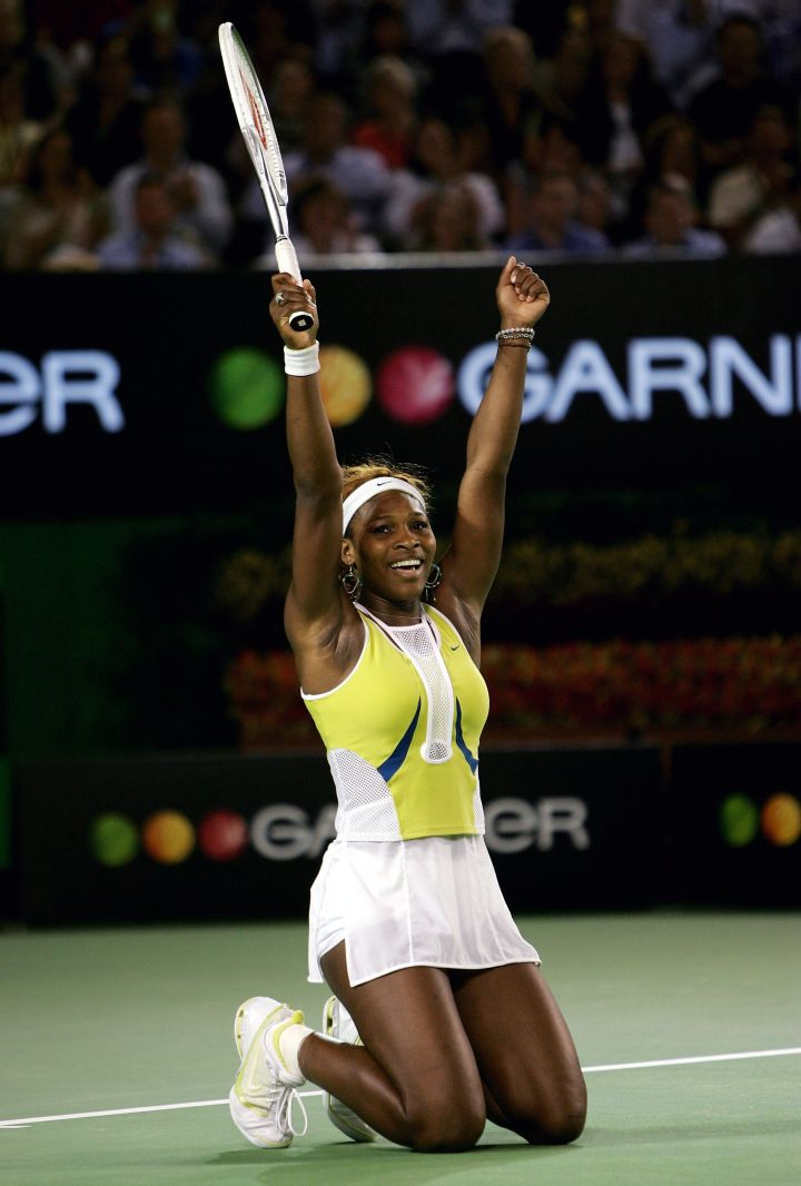 Serena celebrates in this cute Nike ensemble at the 2005 Australian Open.