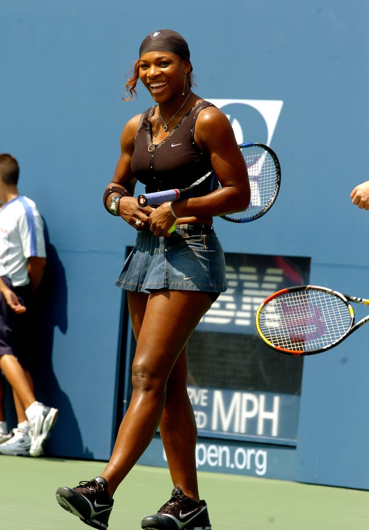 Serena rocks a denim tennis outfit at the 2004 US Open Arthur Ashe Kids' Day.