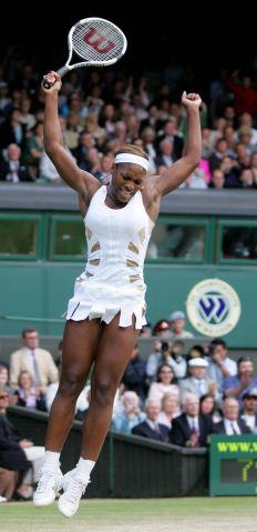 Serena Williams of the US celebrates def