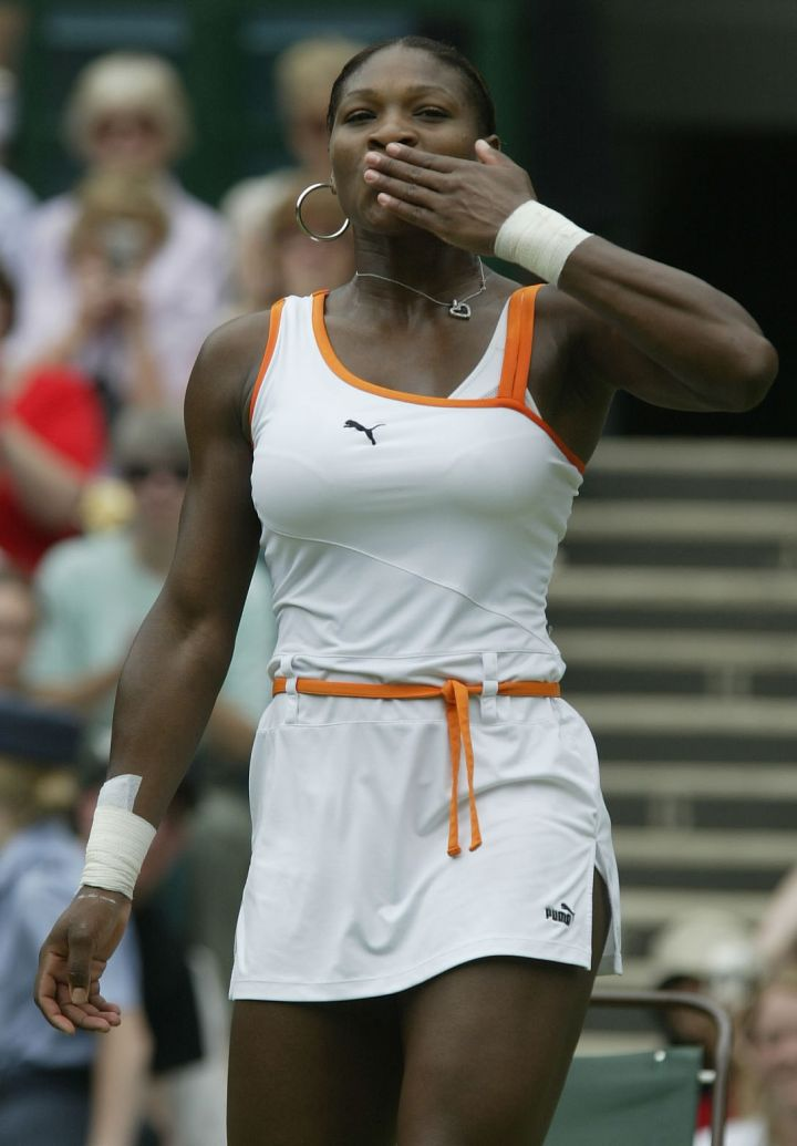 Serena's orange and white 2003 Wimbledon Puma outfit.