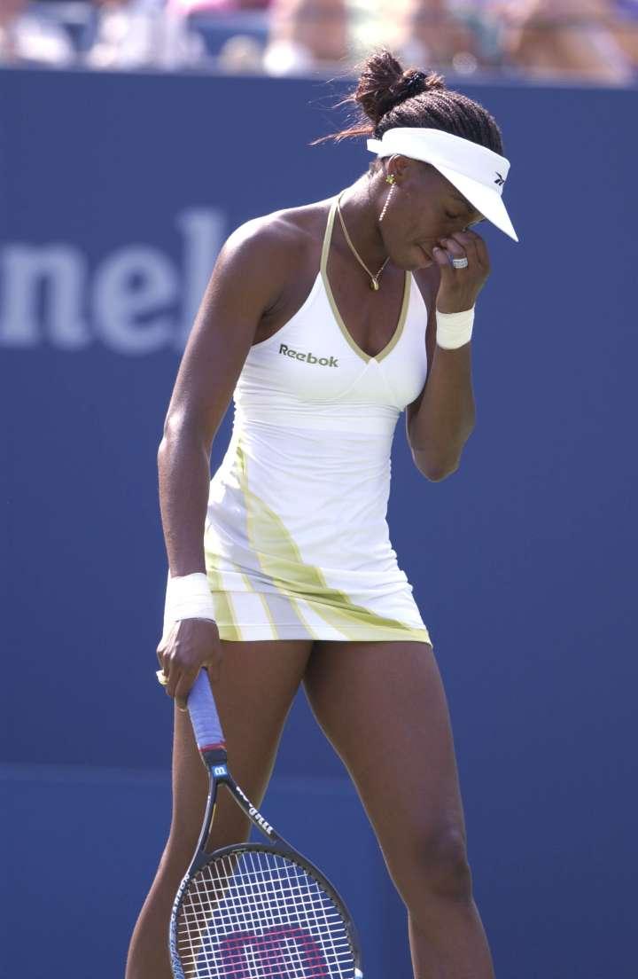 Venus rocks a spaghetti strap halter at the 2001 US Open